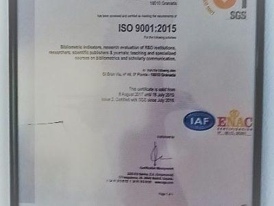 EC3metrics certifica la calidad en la gestión de sus servicios y la investigación